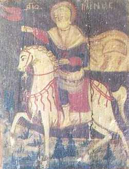 Icon of St. Mina (18th century) - Museum of St. Abraam Monastery, Fayoum, Egypt
